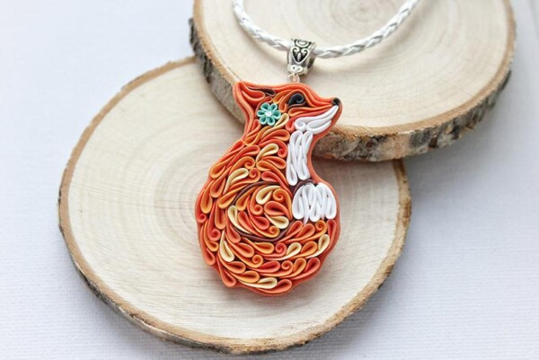 beautiful clay fox themed necklace gift