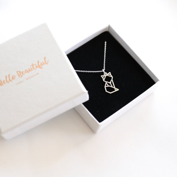 silver geometric necklace fox gift